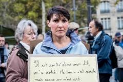 Place de la République, Paris le 29 octobre 2017.Suite au succès des hashtag #metoo et #balancetonporc, des centaines de personnes se sont rassemblées ce dimanche pour dénoncer les violences faites aux femmes et les inégalités face aux hommes.