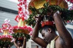 Paris, le 27 août 2017.Le cortège de la 22ème fête de Ganesh s'est élancé dans les rues du 18ème arrondissement de Paris.L'espace d'une journée, Ganesh, fils du grand Shiva, dieu aux quatre bras et à tête d'éléphant transforme le nord de la capitale en une véritable ville indienne.